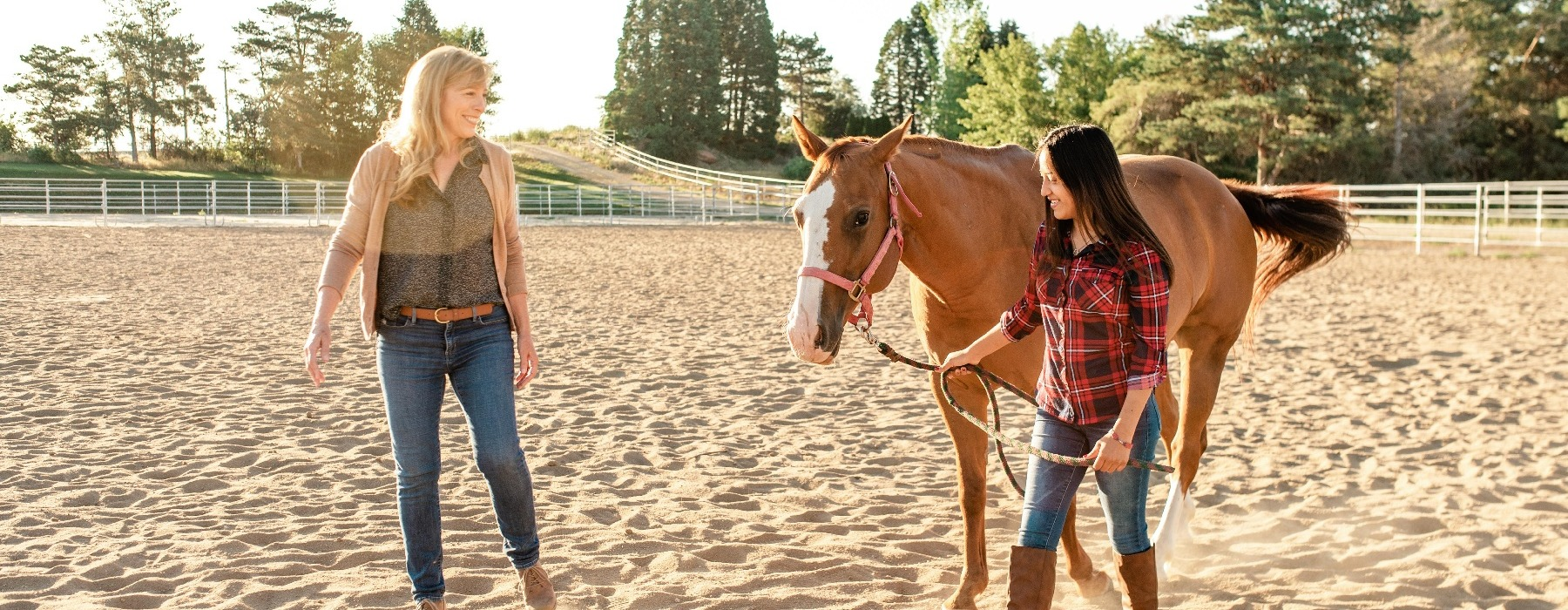 teen girl in equine therapy session