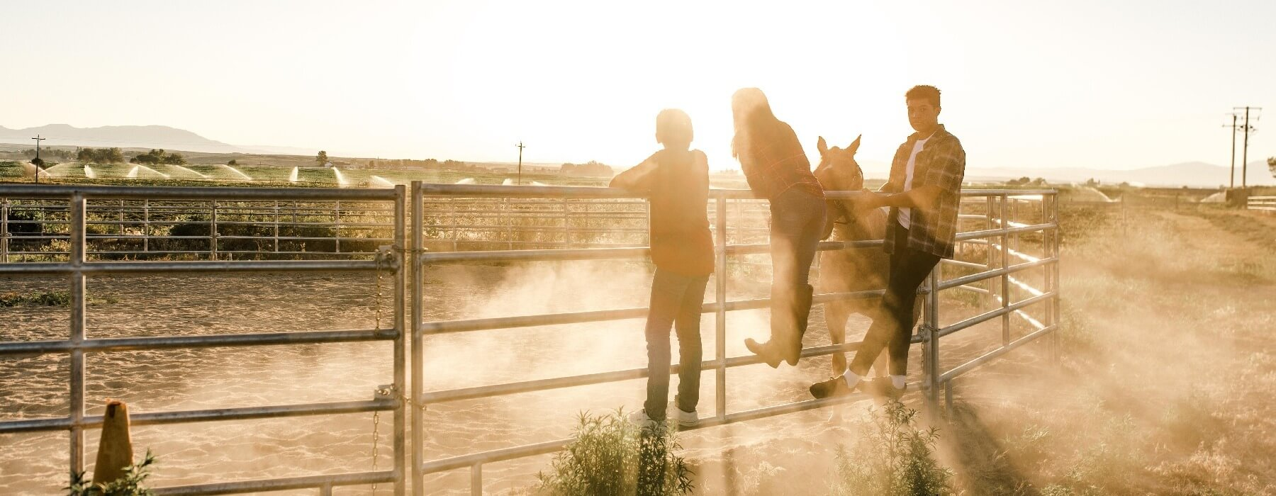 Teens and Horses at Sunrise