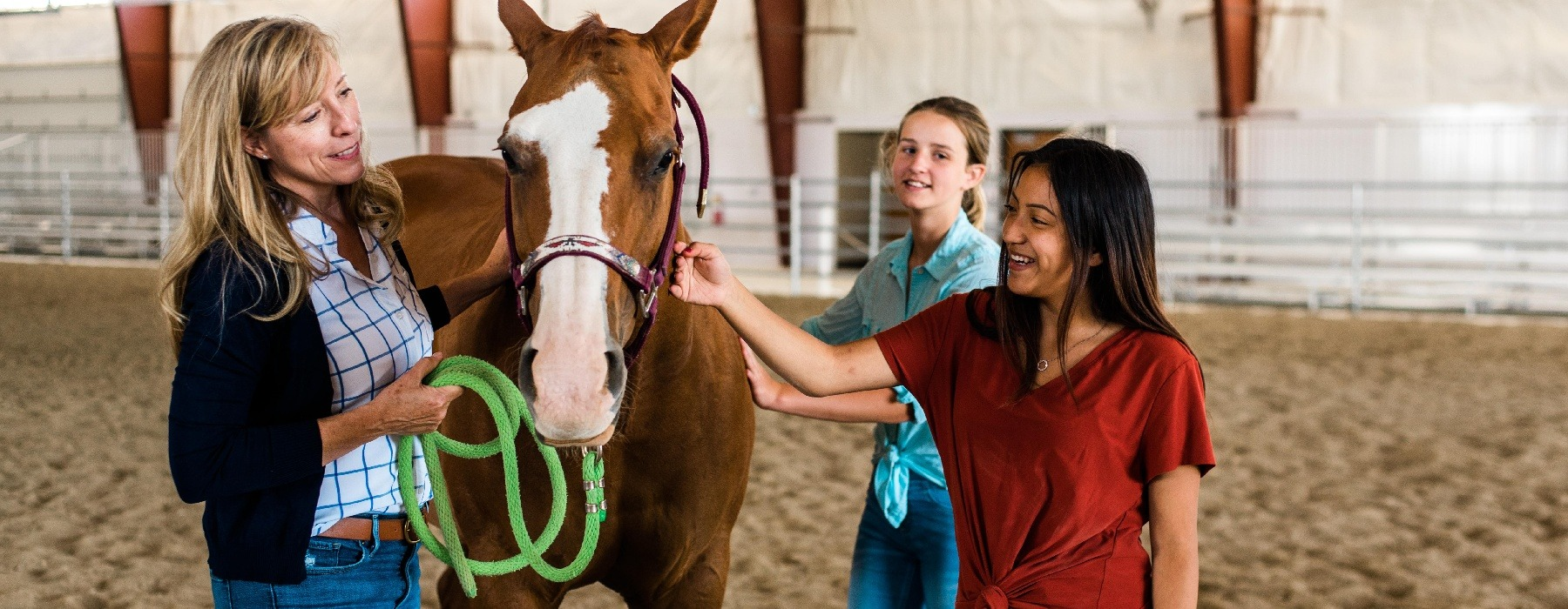 teens girls in equine therapy